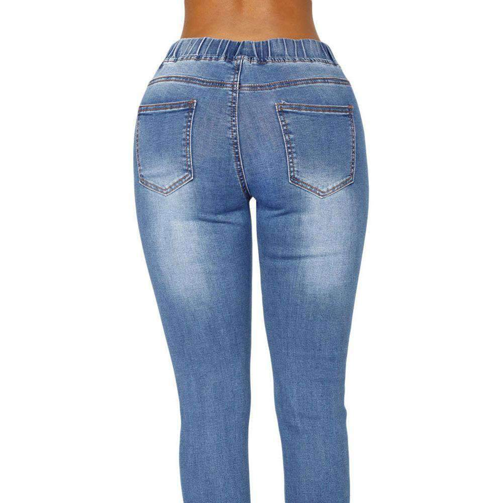 Buy One Get One 50% Off Adjustable Waist Ripped Pencil Jean
