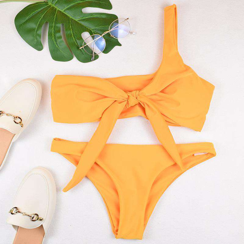 Knot Front One Shoulder Bandeau with High Leg Bikini Set Swimsuit