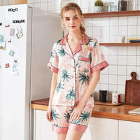 Flower Painted Leisure Pajamas Set