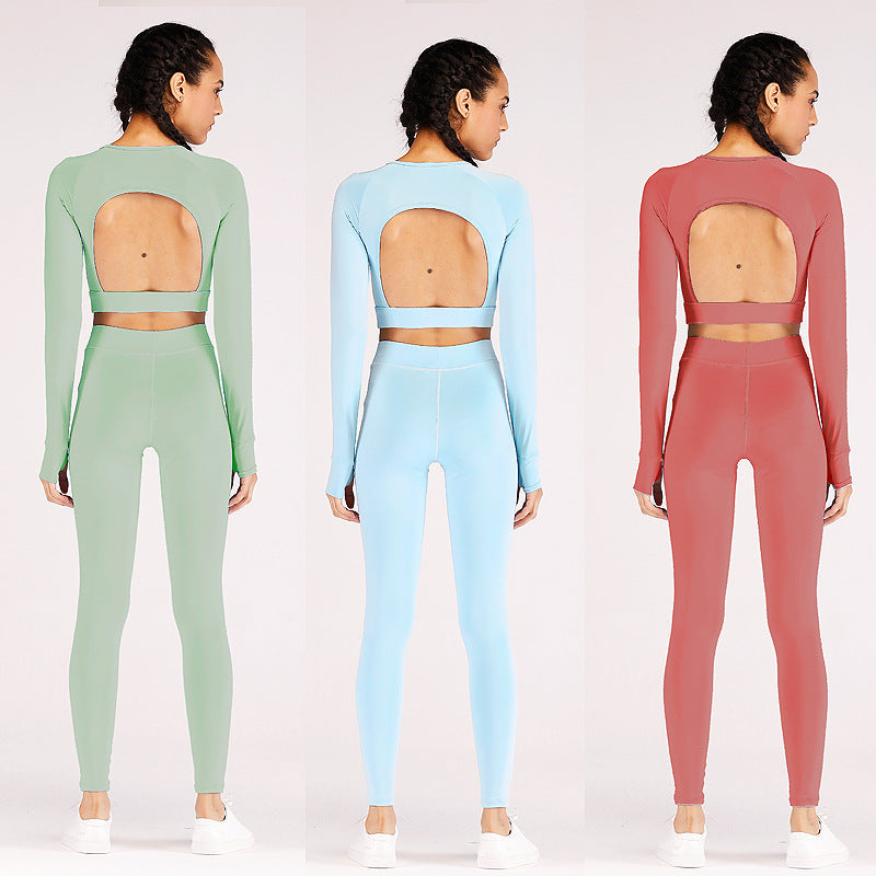 Pure Color Tight Long-Sleeve Top & Pants Sports Yoga Set