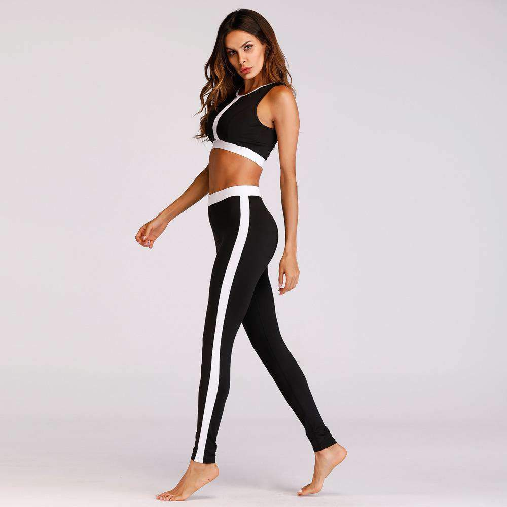 Chic Patchwork Leisure Yoga Bra & Pants Suit