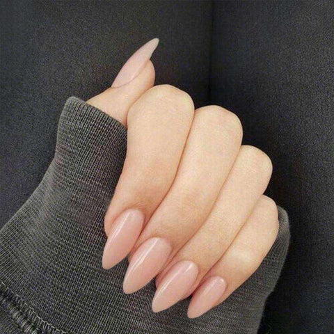 Pointy Nude Almond Magic Press On Nail Manicure