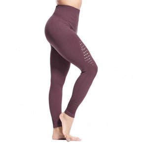 High Elasticity Hollow Out Seamless Sports Cropped Pants Legging