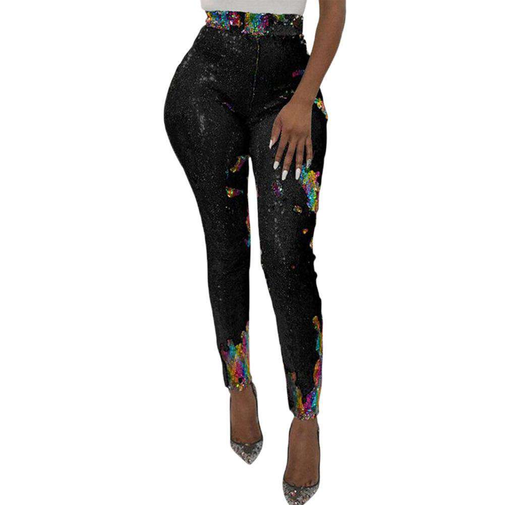 High Waist Women's Retro Skinny Pencil Pants With Sequins