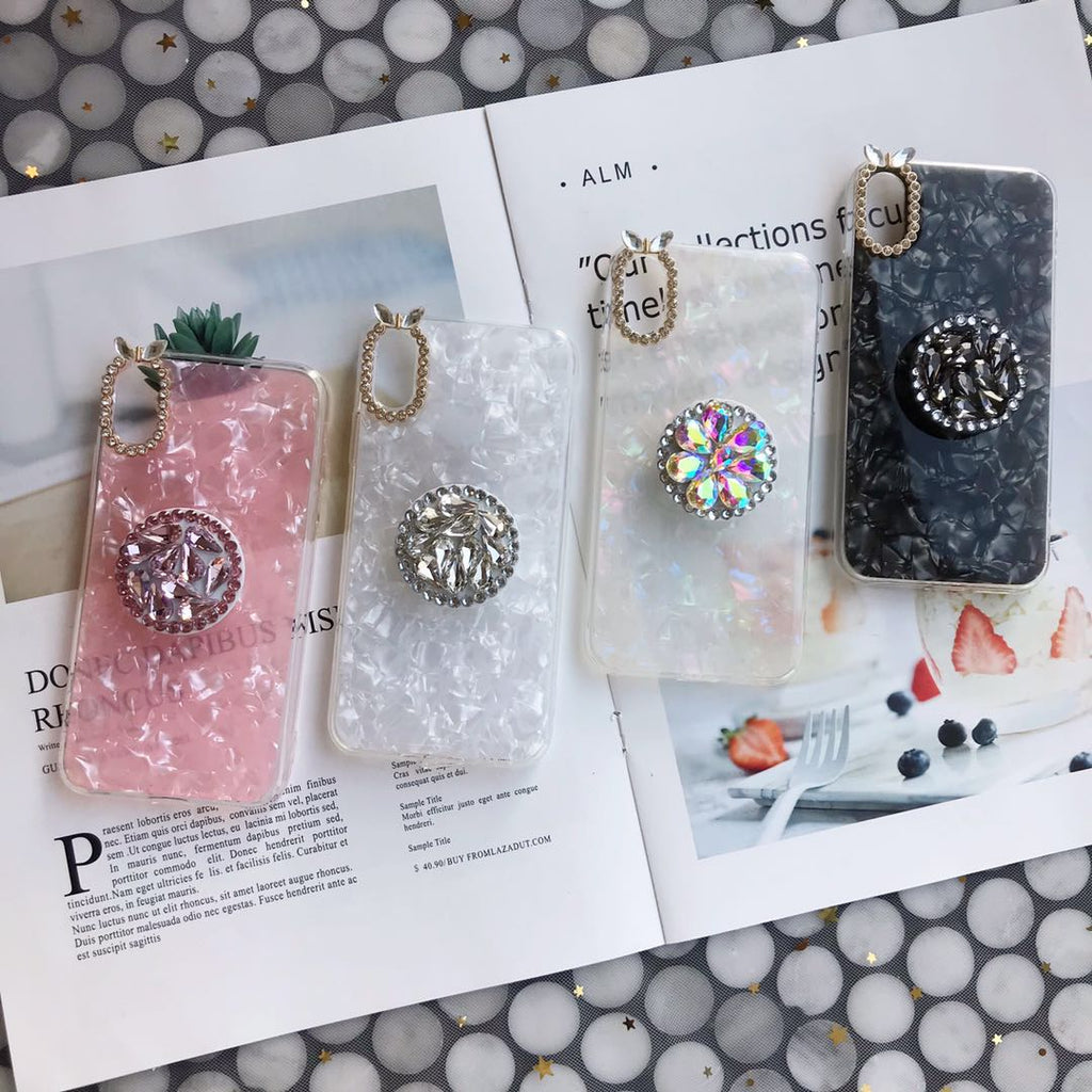 Candy Color Sparkling Phone Case with Phone Holder For All iPhone