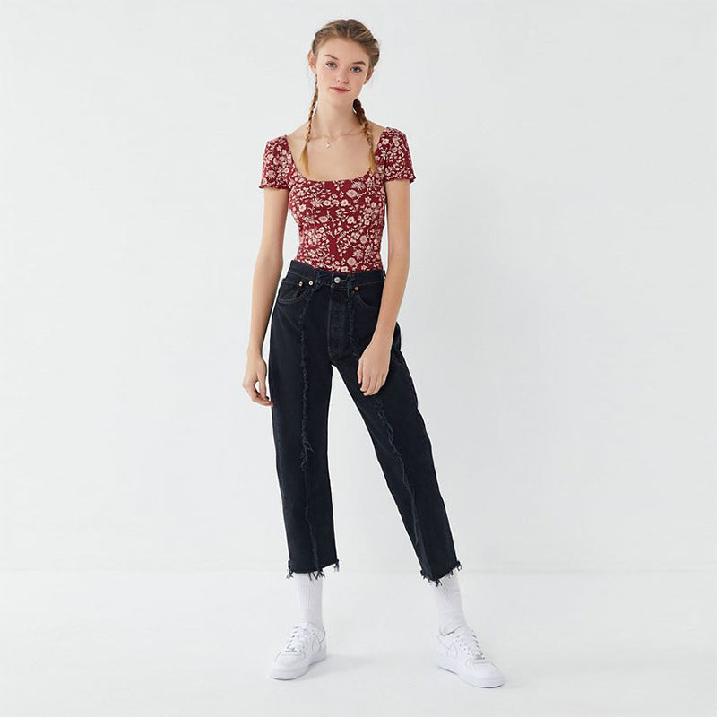 Raw Hem High Rise Straight Cropped Jeans
