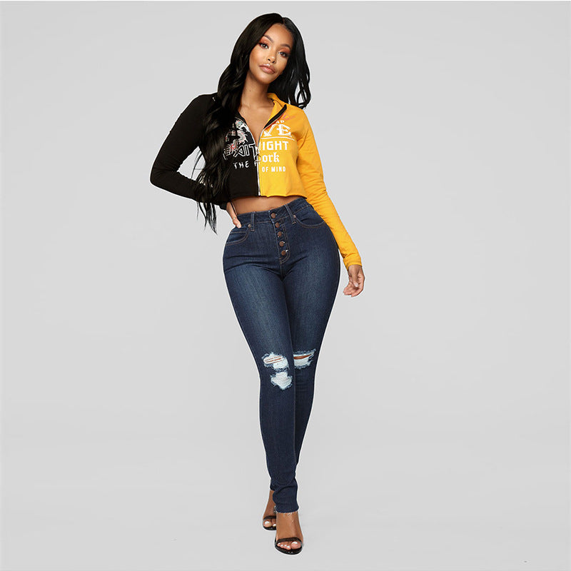 Knee Distressed Button Hip Lift Pencil Jeans