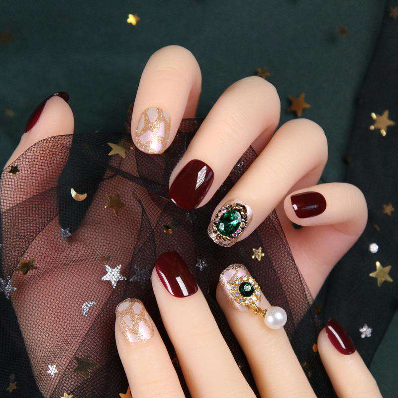 Jasper Rhinestone Glitter Magic Press On Nail Manicure