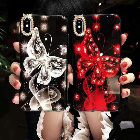 Butterfly Sparkling Powder iPhone Case with Hand Strap