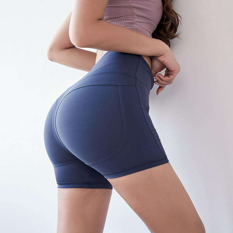 Sexy Solid Color Hip Lifting Yoga Shorts