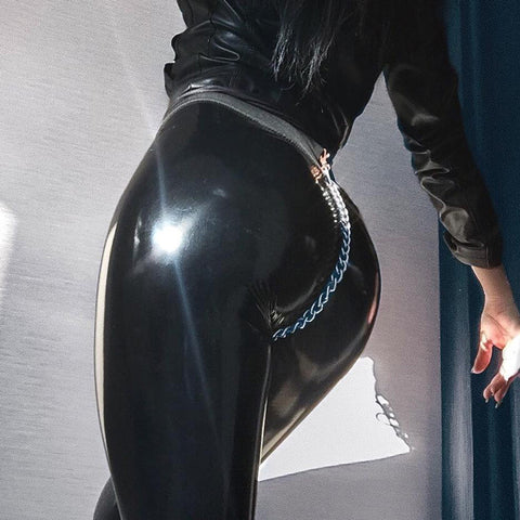 High Waist Faux Leather Leggings With Metal Chain