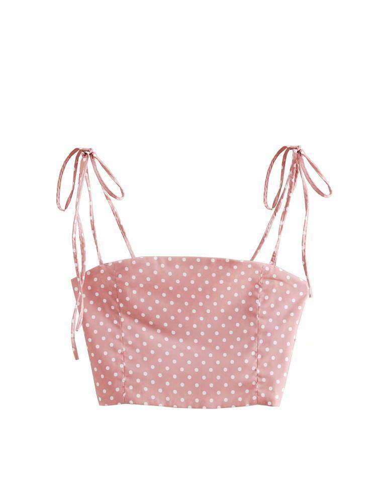 Cute Pink Polka Dot Print With Tied Cami Top