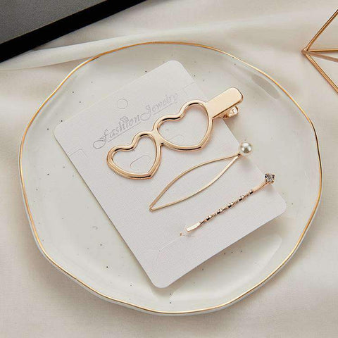 3Pcs Vintage Line Shape With Pearl Hairpin