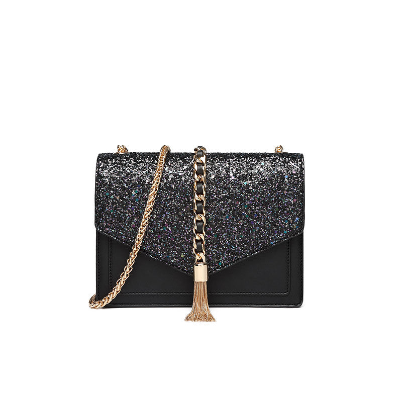 Glitter Sequin Mini Shoulder Bag with Chain