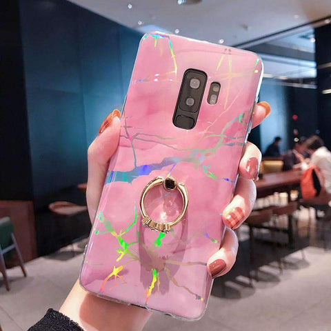 Creative Marble Soft Phone Case for Samsung with Phone Holder gallery 6