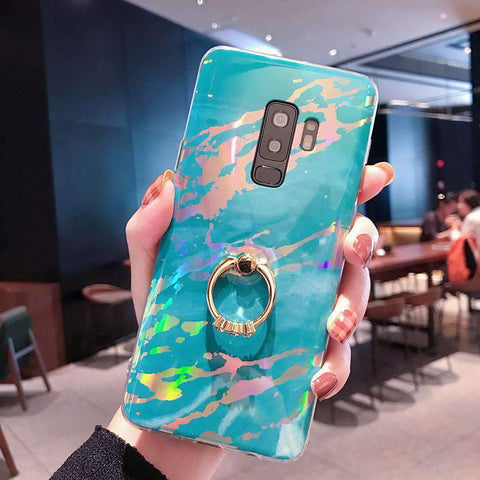 Creative Marble Soft Phone Case for Samsung with Phone Holder gallery 4