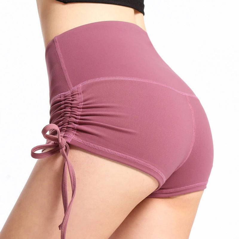 Ruched Drawstring Detail Butt Lifting Active Shorts