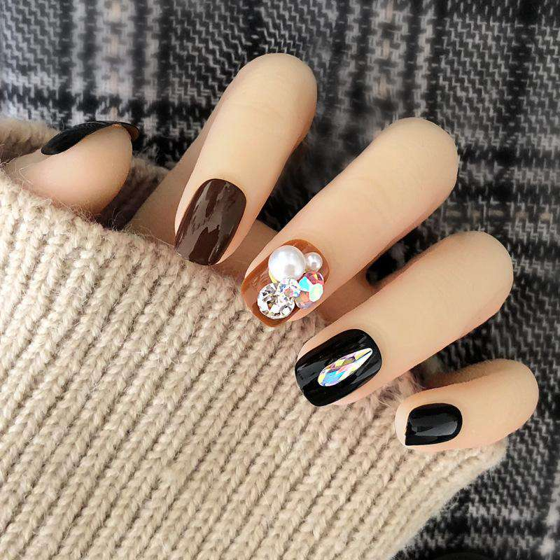 Pearl Rhinestone Water Drop Magic Press On Nail Manicure