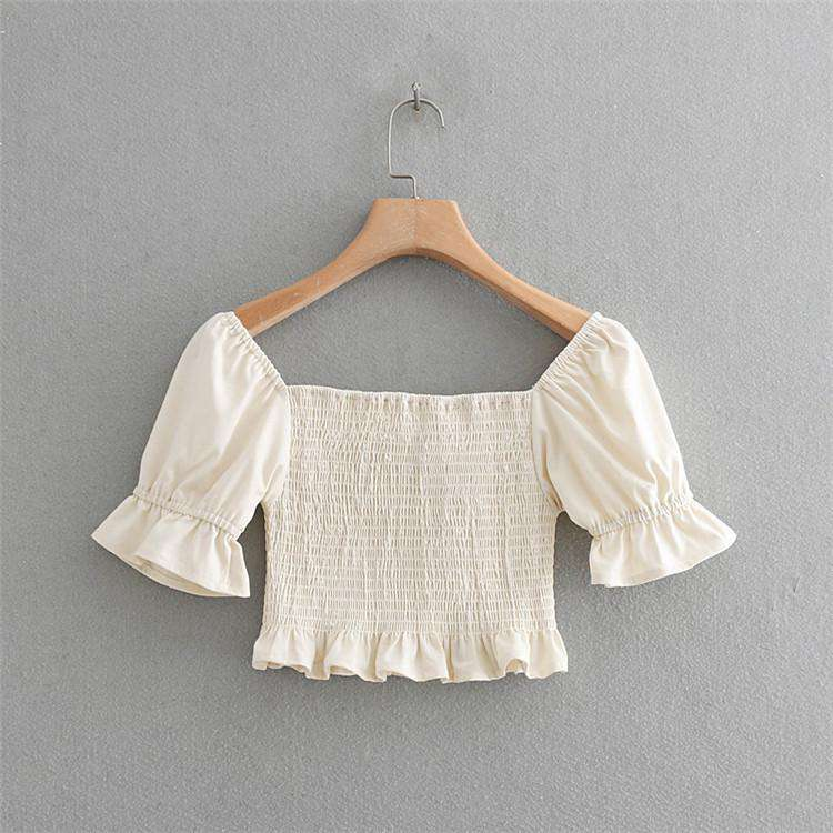 Plunge Ruched With Ruffle Side Short Sleeves Cami Top