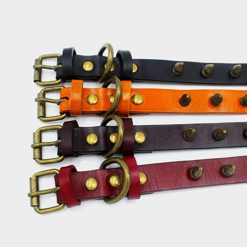 Genuine Leather Studded Rivet Pet Dog Collar