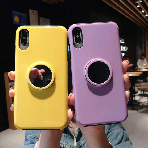 Concise Pure Color Phone Case for Apple iPhone with Phone Holder