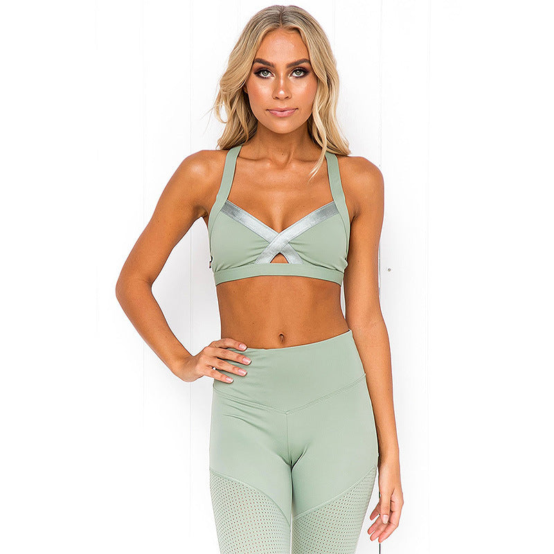 Solid Color Patchwork Cross Hollow Out Yoga Set