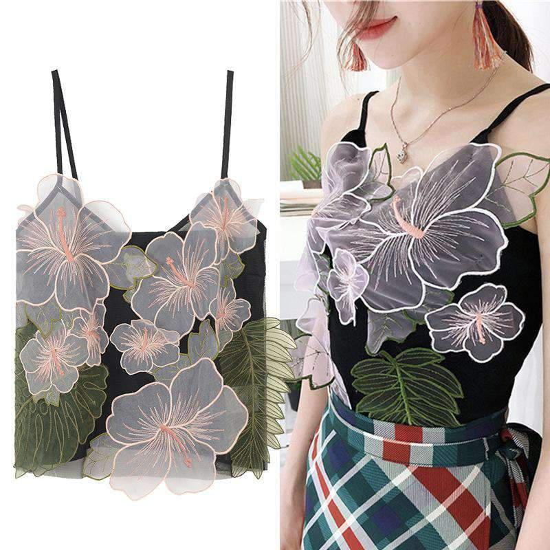 Flower & Leaves With Pure Black Cami Top