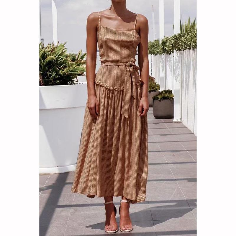 Drawstring Front Pleated Maxi Dress