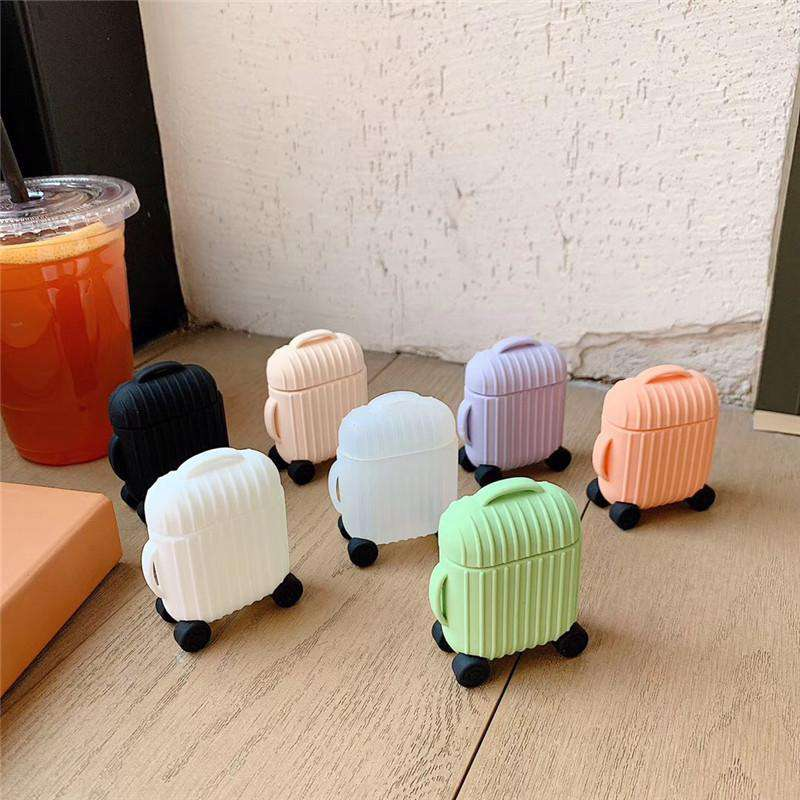 Solid Color Suitcase Designed Protective Cover Case for Airpods