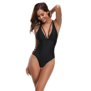 Sexy Black One-Piece Swimsuit