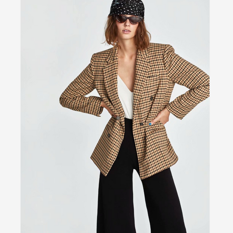 Houndstooth Print Double Breasted Pocket Front Blazer