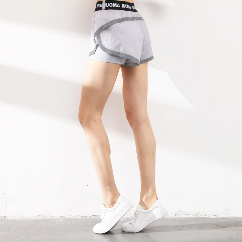 Letter Tape Waist Anti-Peeping Sports Shorts