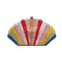 Gold-plated Fine Rhinestone Shell Clutch Bag With Chain