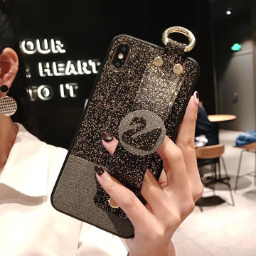 Sparkling with Swan Waist Band Phone Case For All iPhone