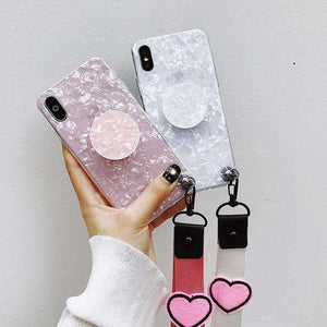 Marble Stone Pattern Phone Case for Samsung with Phone Holder and Strap