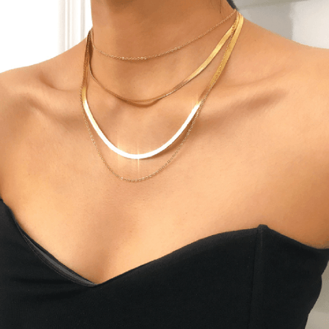 Multi Layering Herringbone Necklace