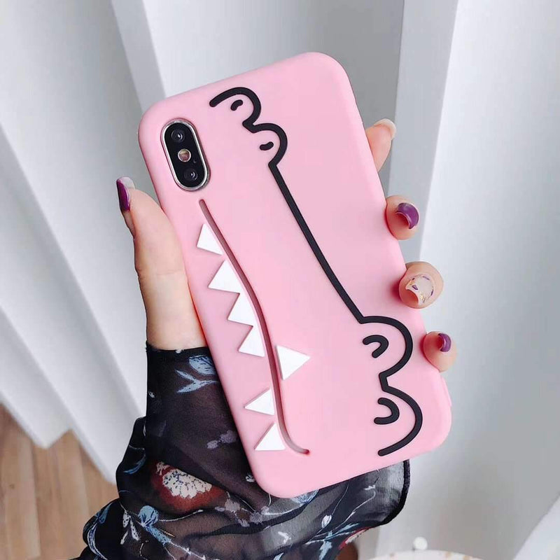 Candy Color Cute Cartoon Crocodile Design iPhone Case with Card Holder