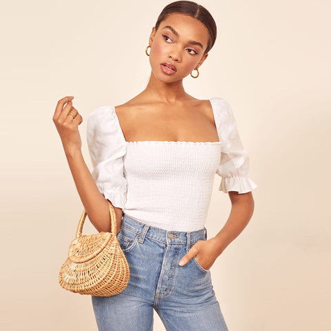 Solid Square Neck Puff Sleeve Shirred Top