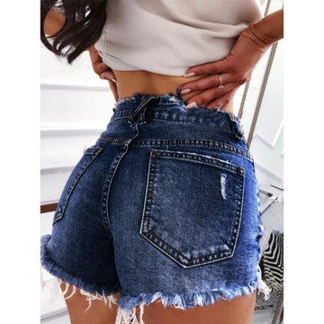 Cowboy Close-fitting Shorts In Holes