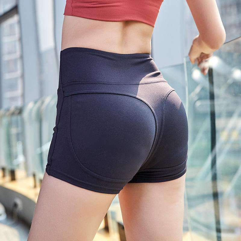 Elastic Breathable Solid Color Yoga Shorts