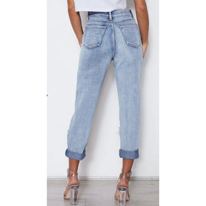 High Waist Loose Raw Ripped Mom Jeans