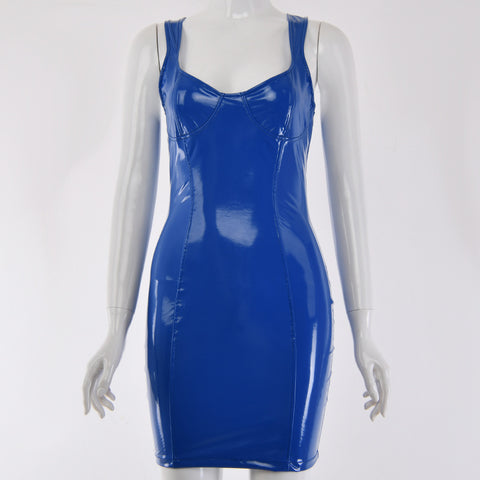 Sexy Royal Blue Patent Leather Bodycon Strappy Dress gallery 5