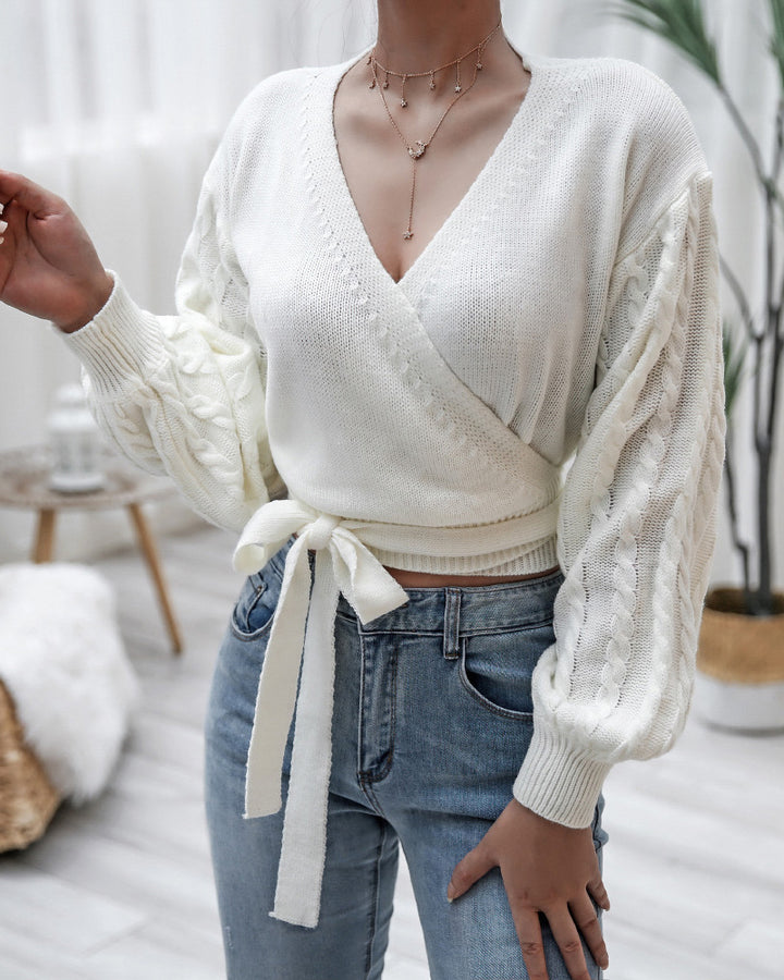 Solid Cable Knit Surplice Self-Tie Sweater gallery 2