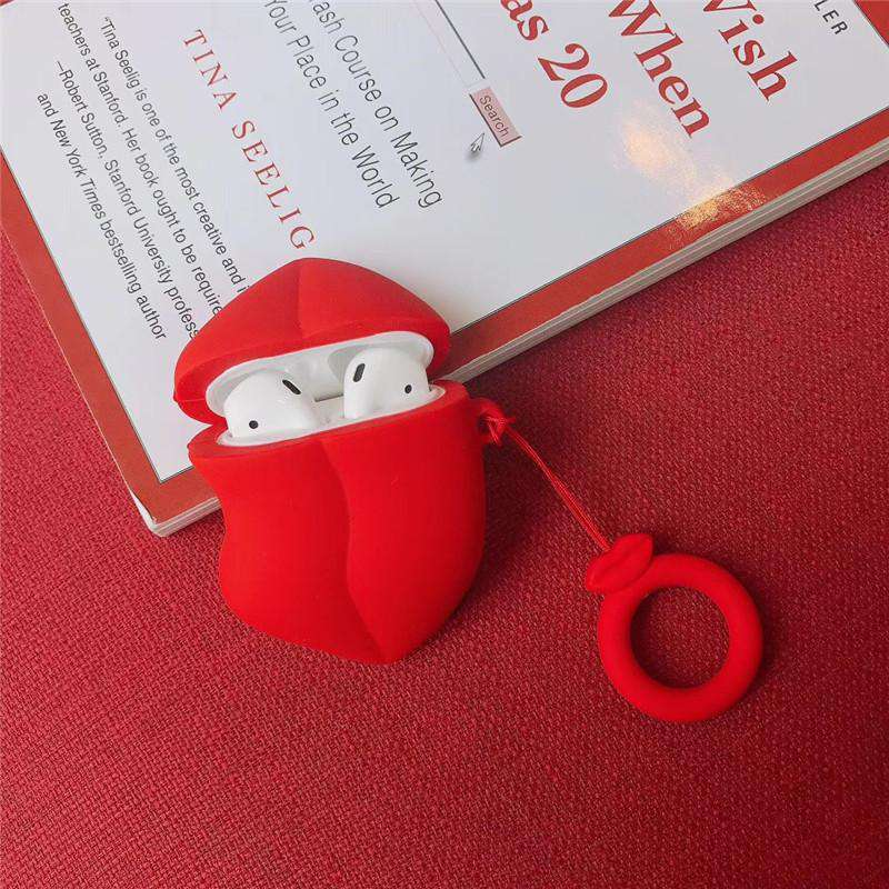 Red Lip Designed Protective Cover Case for Apple Airpods