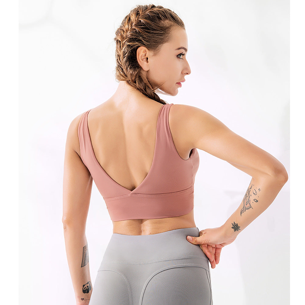 Soild Open Back Active Sports Bra