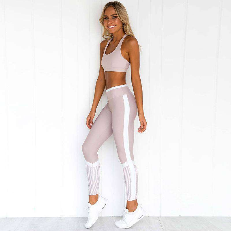 Patchwork Sports Cami Top & Pants Yoga Set