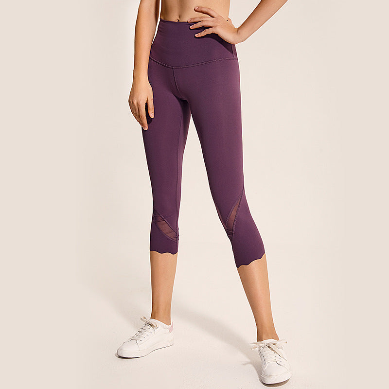 Contrast Mesh Cuff Detail Butt Lifting Capri Leggings