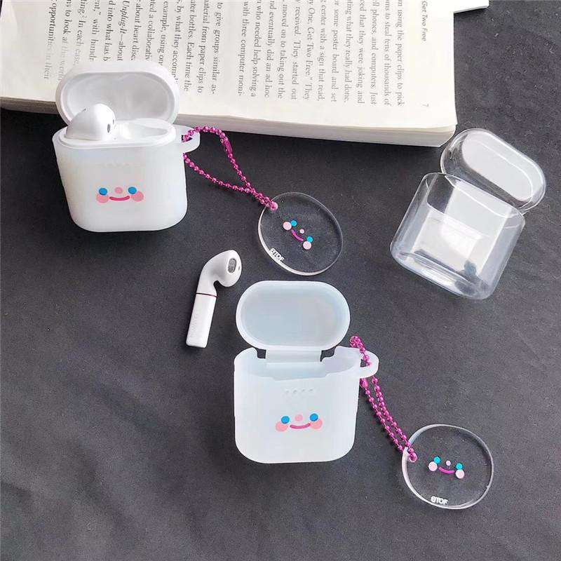 Transparent Smiling Face Silicone Protective Cover Case for Apple AirPods