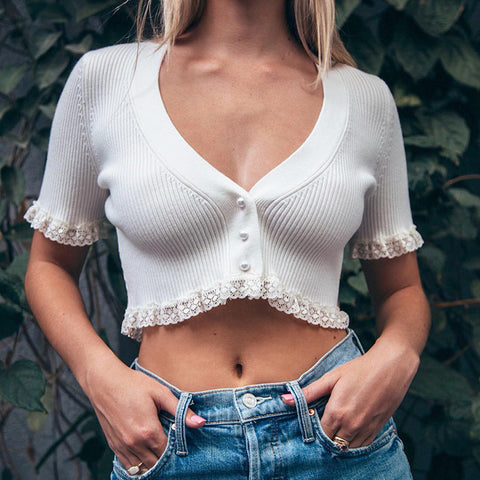 Lace Trim V Neck Ribbed Knit Crop Top