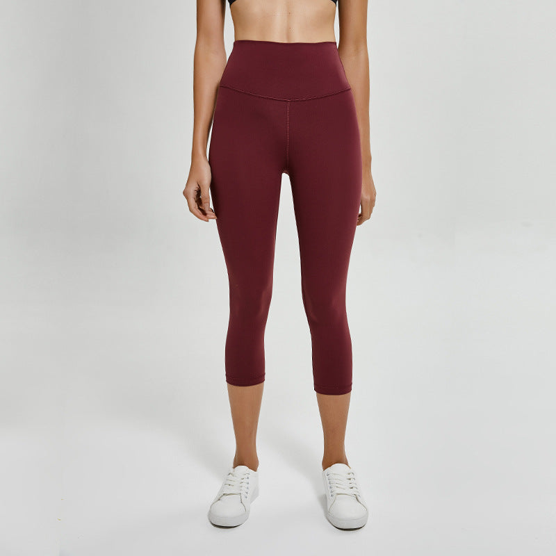 Solid High Waist Workout Capri Leggings